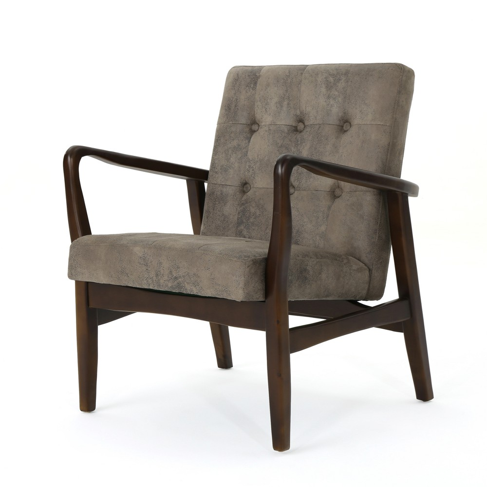 Callahan Mid Century Club Chair Gray/Brown - Christopher Knight Home, Greyish Brown