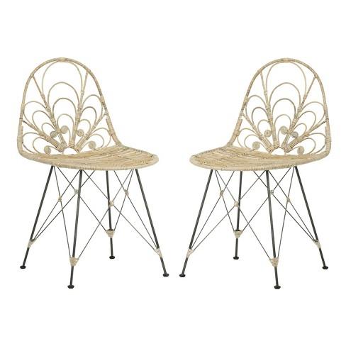 Set of 2 Madeline Rattan Dining Chair White Wash/Dark Steel - Safavieh - image 1 of 4