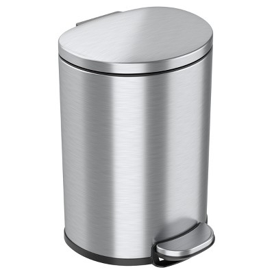 iTouchless Step Pedal Bathroom Trash Can with AbsorbX Odor Filter and Removable Inner Bucket 3 Gallon Semi-Round Stainless Steel