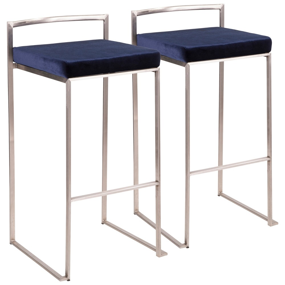 Set of 2 Counter And Bar Stools LumiSource Stainless Steel Blue Velvet
