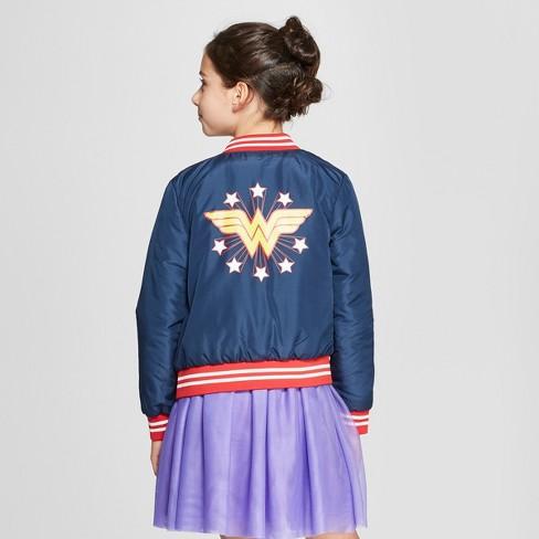 587305904 Girls' DC Comics Wonder Woman Reversible Bomber Jacket - Navy/Red : Target