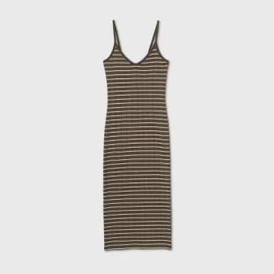 Women's Striped Sleeveless Knit Dress - Wild Fable™ Olive XL