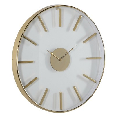 "30"" x 30"" Large Round Stainless Steel Modern Wall Clock Gold - Venus Williams Collection"