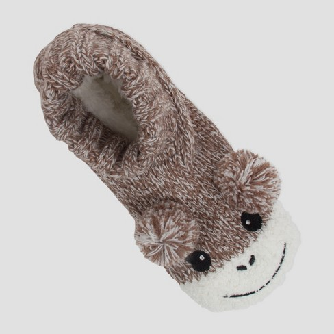 Women's Knit Slipper Socks - Monkey Brown One Size - image 1 of 3