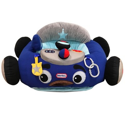 Little Tikes Cozy Coupe Plush Car Baby Toddler Lounger Seat with Working Car Horn, Reflective Side Mirror, and Cup Holder, Patrol Police Car