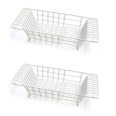 Closetmaid Economical 8 Inch Wide 4.5 Inches High Over the Sink Coated Steel Dish Rack Draining Solution, White (2 Pack)