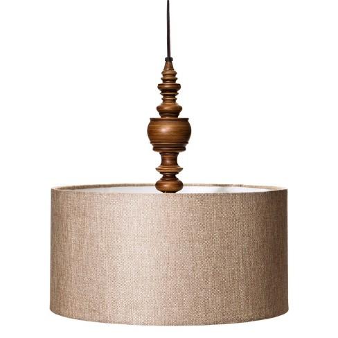 Turned Plug In Pendant Ceiling Light Brown Mudhut