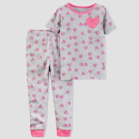 Toddler Girls' 2pc Heart Pajama Set - little planet™ organic by carter's® Pink 5T - image 1 of 1