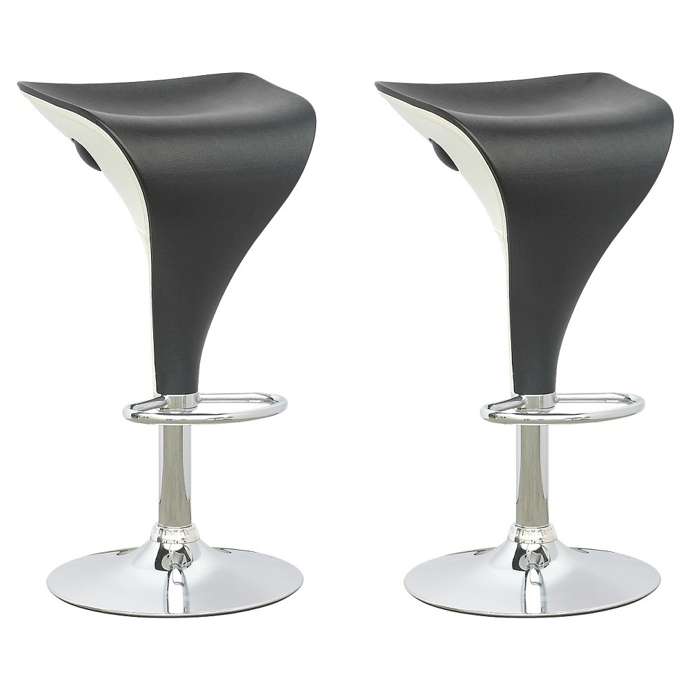 Two Tone Adjustable Barstool - Black/White (Set Of 2) - Corliving