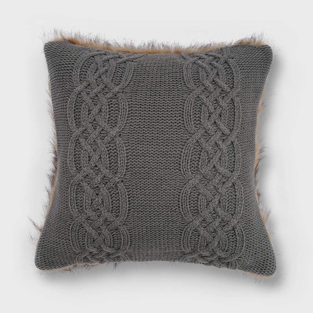 20 34 X20 34 Classic Cable Knit With Faux Fur Reverse Throw Pillow Charcoal Gray Evergrace