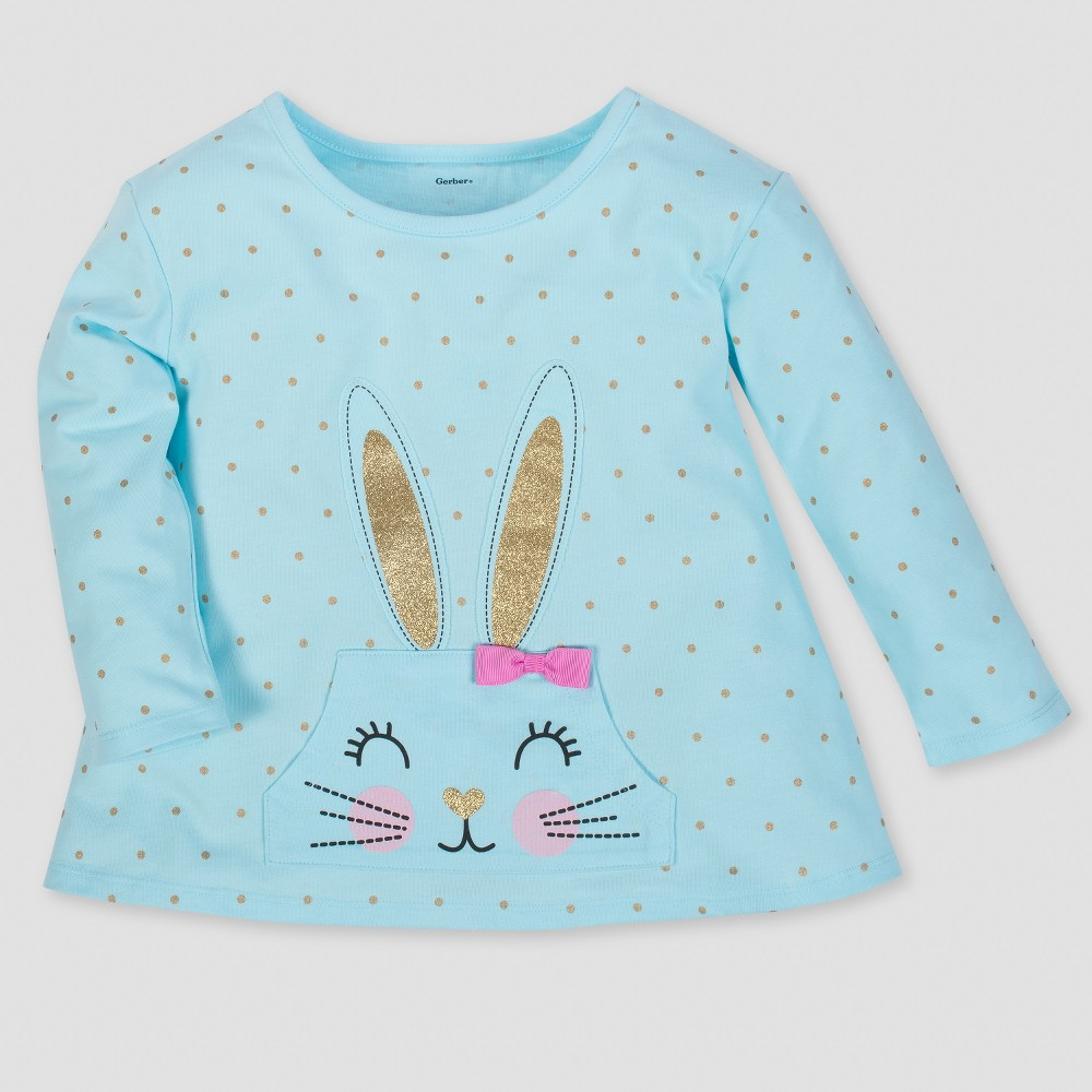 Gerber Toddler Girls' Bunny Long Sleeve Top with Front Pocket & Bow - Aqua 12M, Blue