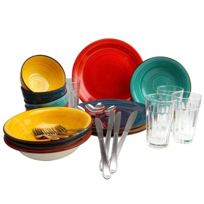 Gibson Home 28pc Stoneware Speckle Mix and Match Dinnerware Set