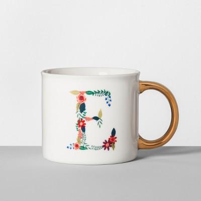 Monogrammed Porcelain Floral Mug E 16oz White/Gold - Opalhouse™