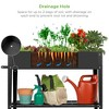Best Choice Products Mobile Raised Ergonomic Metal Planter Garden Bed w/Wheels, Lower Shelf, 38x16x32in, Dark Gray - image 2 of 4