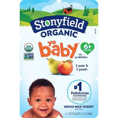 Stonyfield Organic YoBaby Pear & Peach Whole Milk Kids' Probiotic Yogurt - 6ct/4oz Cups