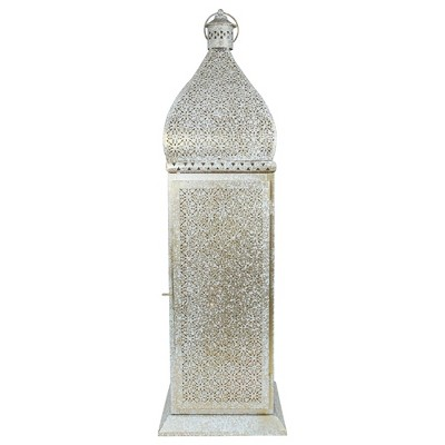 "Northlight 30.5"" White and Gold Moroccan Style Pillar Candle Floor Lantern"
