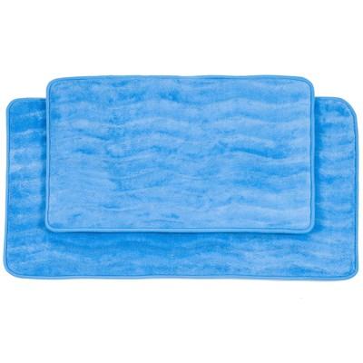 Wave Bath Mat 2pc Blue - Yorkshire Home