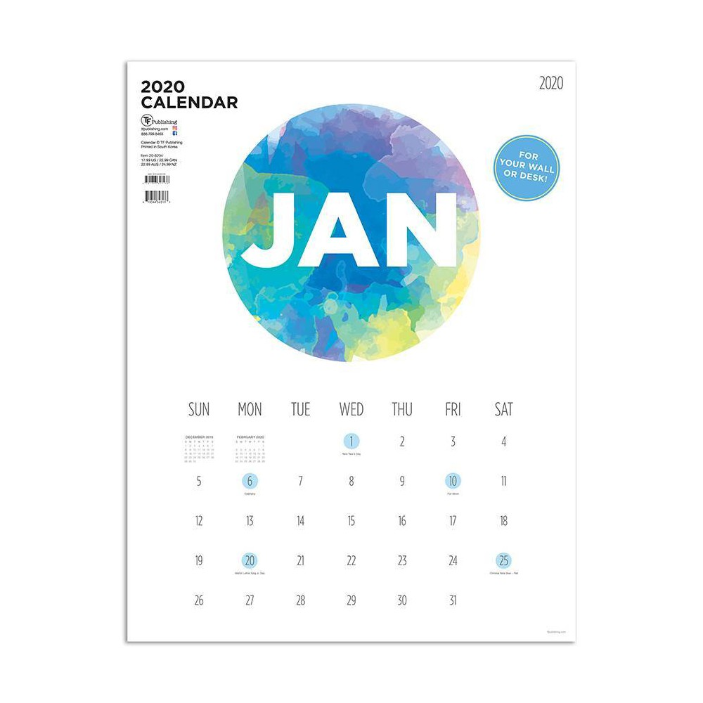 Image of 2020 Art Poster Desktop Calendar Paint Circle