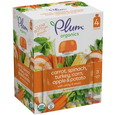 Plum Organics Carrot Spinach Turkey Corn Apple & Potato with Celery & Onion Baby Food Pouch - (Select Count)