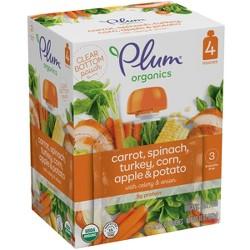 Plum Organics Stage 3 Organic Baby Food, Carrot, Spinach, Turkey, Corn, Apple & Potato - (Pack of 4)