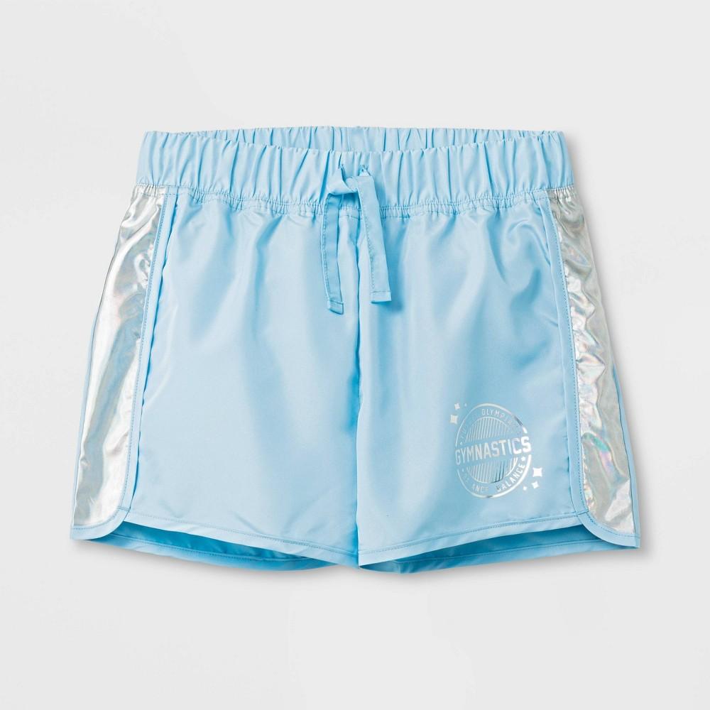 Girls' Gymnastics Active Wear Shorts - Crystal Blue L