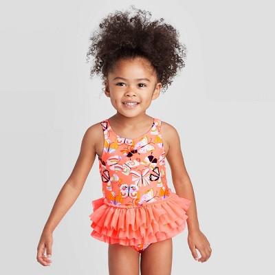Toddler Girls' Butterfly One Piece Tutu Swimsuit - Cat & Jack™ Peach 12M