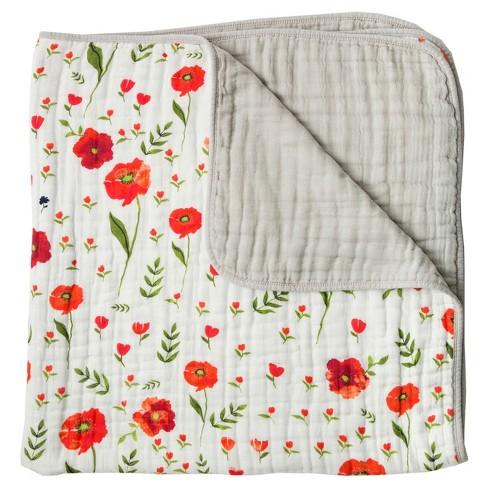 Little Unicorn 4-Layer Cotton Muslin Quilt - Summer Poppy - image 1 of 4