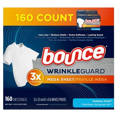 Bounce Wrinkle Guard Outdoor Fresh Scent Fabric Softener and Wrinkle Releaser Sheets - 160ct