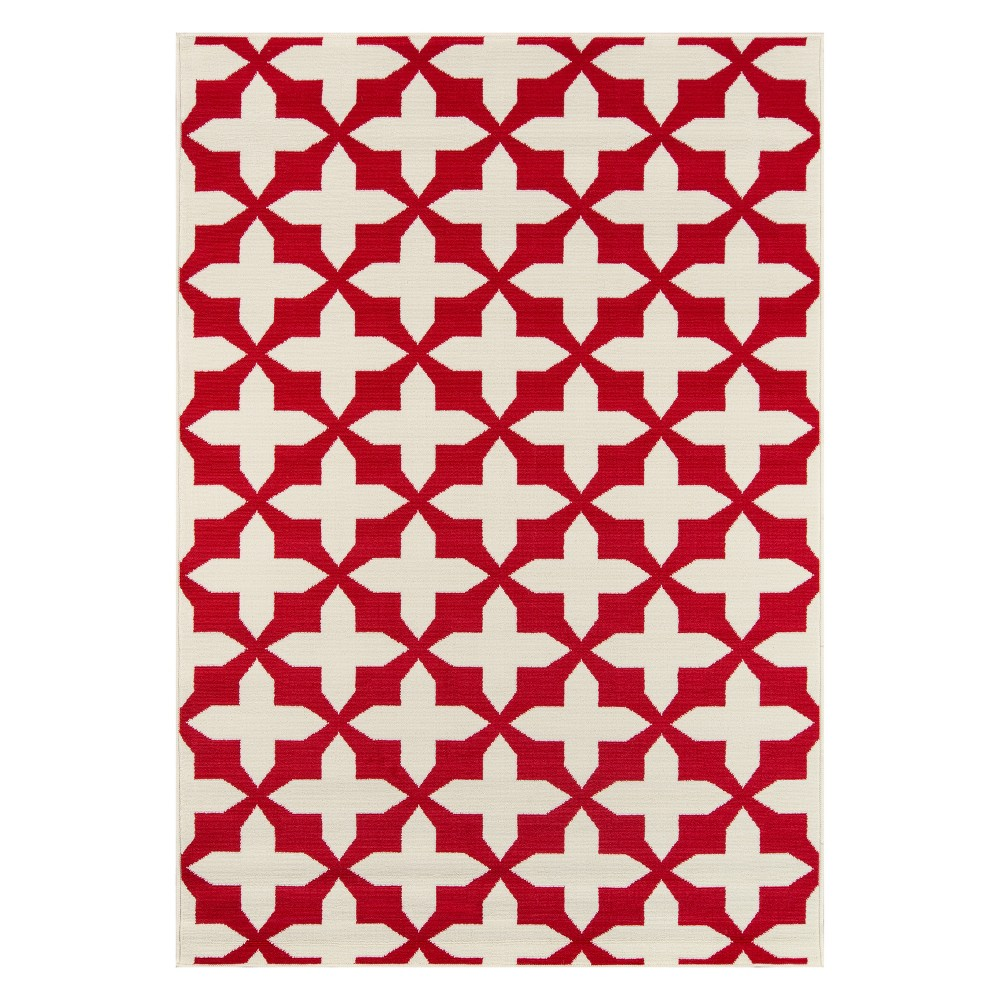 Geometric Loomed Accent Rug Red/White