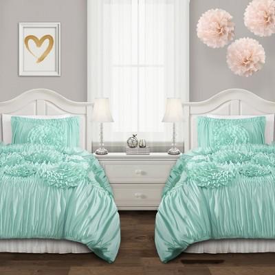 3pc Full/Queen Reyna Comforter Set Aqua - Lush Décor