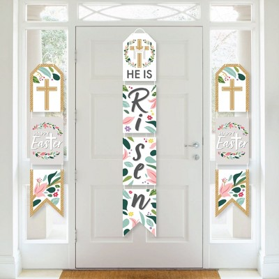 Big Dot of Happiness Religious Easter - Hanging Vertical Paper Door Banners - Christian Holiday Party Wall Decoration Kit - Indoor Door Decor