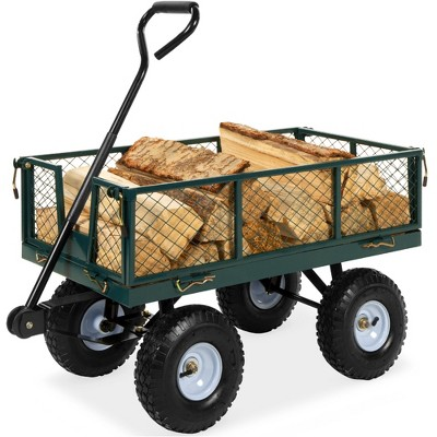 Best Choice Products Heavy-Duty Steel Garden Wagon Lawn Utility Cart w/ 400lb Capacity, Removable Sides, Handle