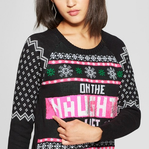 Womens On The Naughtynice List Reversible Ugly Sweater Well Worn