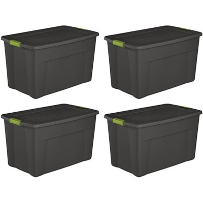 Sterilite 19453V04 35 Gallon Storage Tote Box w/Latching Container Lid (4 Pack)