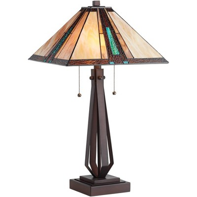 Franklin Iron Works Mission Rustic Table Lamp Bronze Tiffany Style Stained Art Glass Shade for Living Room Bedroom Bedside Office