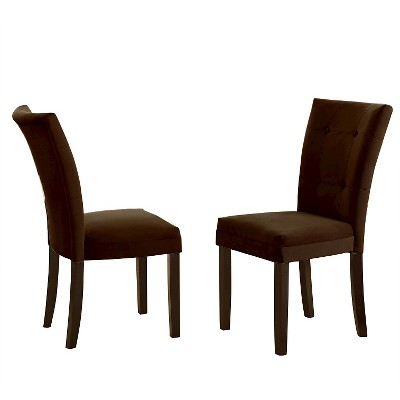 Margo Microfiber Parsons Chairs Wood/Chocolate (Set Of 2)   Steve Silver  Company