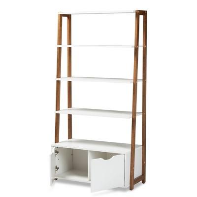 65 04 Senja Wood 2 Door Ladder Bookshelf White Gray Walnut Baxton Studio Target