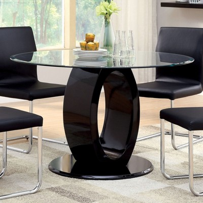 ioHomes Oval Pedestal round Dining Table Wood/Black