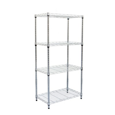 MIND READER Adjustable 4-Tier Metal Storage Rack [No Wheels] Heavy Duty Utility Shelf Organizer and Mobile Chrome Metal Steel Wire Shelving Unit for Office Supplies, Garage, Kitchen, Pantry (SILVER)