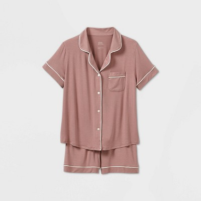 Women's Beautifully Soft Short Sleeve Notch Collar Top and Shorts Pajama Set - Stars Above™ Mauve L