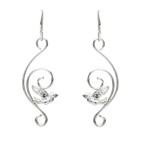 1/4 CT. T.W. Round-cut CZ Heart Dangle Bezel Set Earrings in Sterling Silver - Silver - image 1 of 2