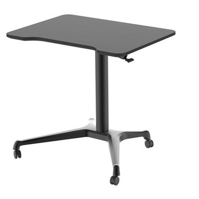 """Monoprice Gas-Lift Sit-Stand Rolling Laptop Desk Riser  - Black (31.5 x 23.5in) Table Top for Single Display, Height Adjustable 29.5""""-42.3"""" Max"""