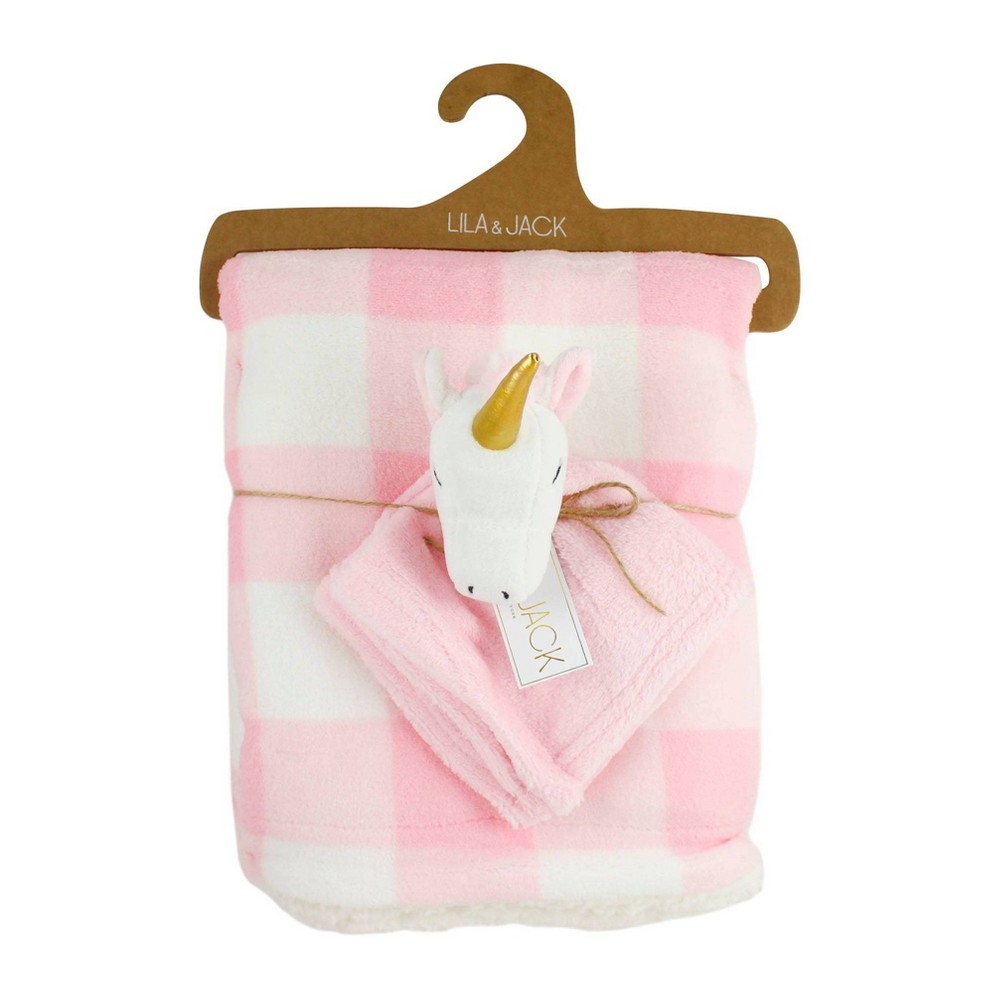 Image of Lila and Jack Pink and White Gingham Print Fleece Kids Throw with White and Pink Unicorn Lovey Set