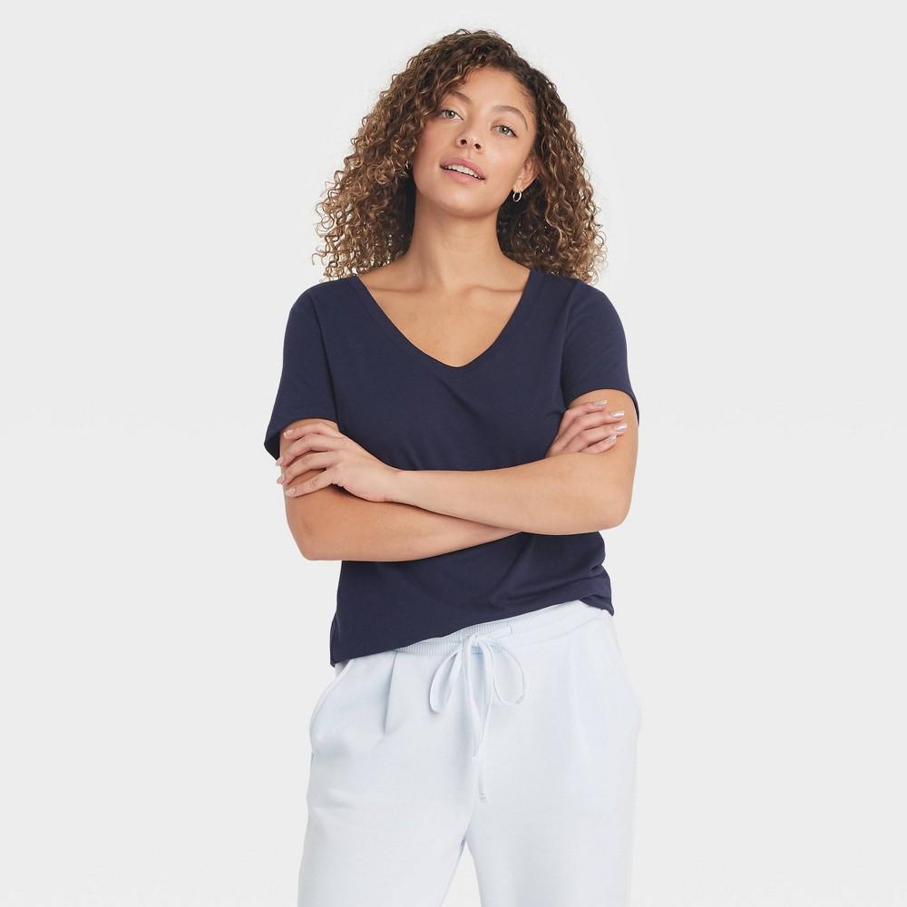 Women 39 S Short Sleeve Scoop Neck T Shirt A New Day 8482 Navy Xs