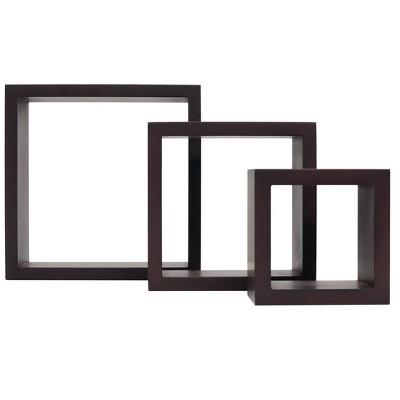 Set of 3 Cubbi Floating Wall Shelves Espresso
