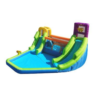 Magic Time International MTI 91450 Double River Backyard Inflatable Safety Mesh Bounce House & Water Park w/ 2 Slides Auto Dump Bucket & Soak Blaster