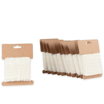 """Genie Crafts 12-Pack Burlap Ivory Jute Fabric Ribbon Roll 2.4"""" x 1.1-Yard for Crafts Embellishments"""
