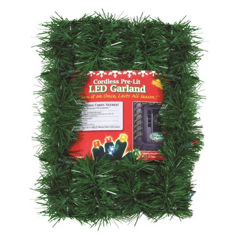 18ft. Christmas Pre-Lit Twinkling Pin with Multicolored Lights Garland - image 1 of 1