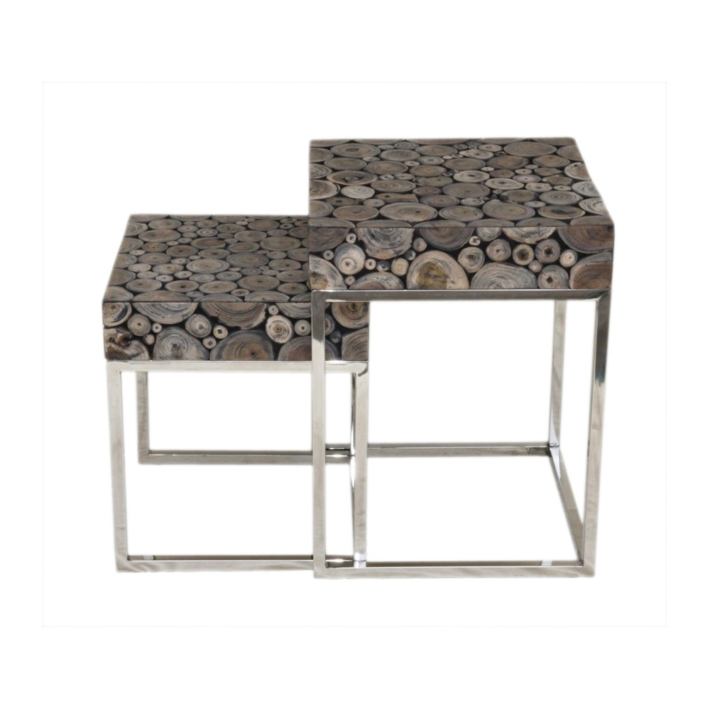 Set of 2 Tremont Acacia Nesting Tables Gray - East At Main