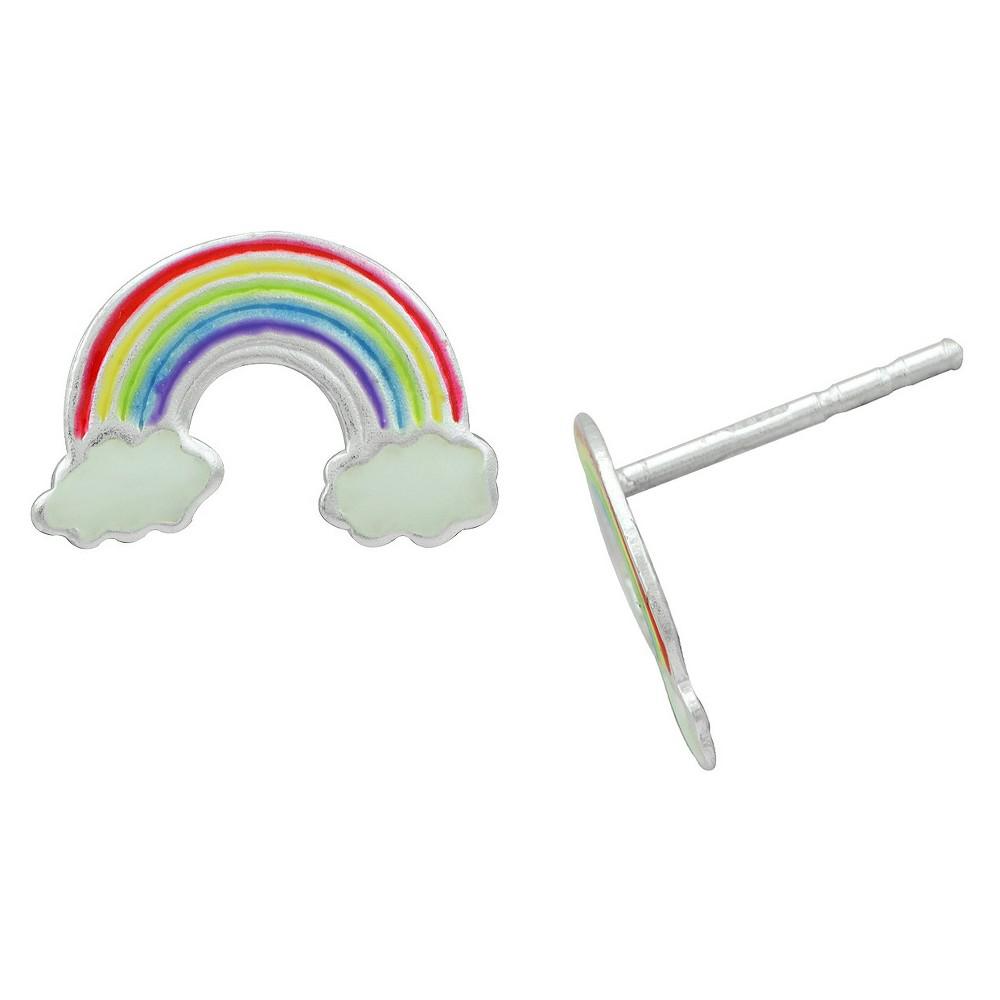 Girls' Sterling Silver Enamel Rainbow Stud Earring Multi Color